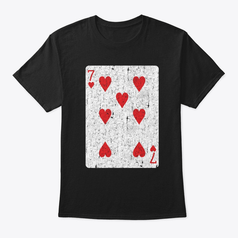 Seven Of Herats Playing Card Black T-Shirt Front