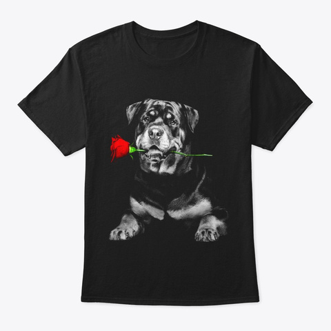 Rottweiler   Rose! Black T-Shirt Front