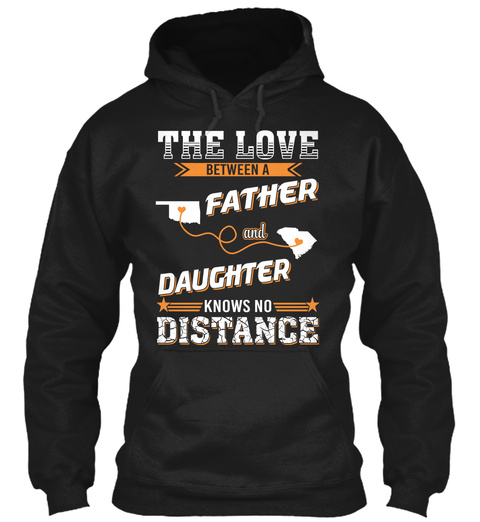 The Love Between A Father And Daughter Knows No Distance Black T-Shirt Front
