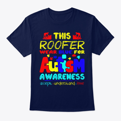 Roofer Autism Awareness Navy T-Shirt Front