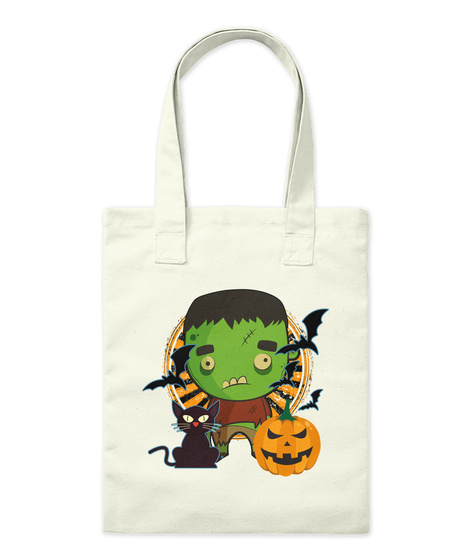 Green Monster Halloween Tote Natural Tote Bag Front