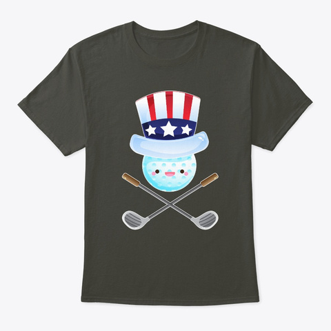 4th Of July Usa Flag Golf America Smoke Gray T-Shirt Front