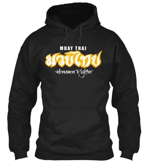 Muay Thai Hanuman Fighter Black T-Shirt Front