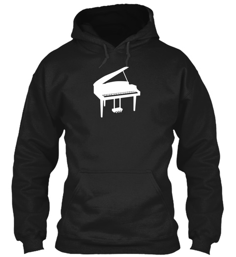 Hoodie Piano Music Black T-Shirt Front