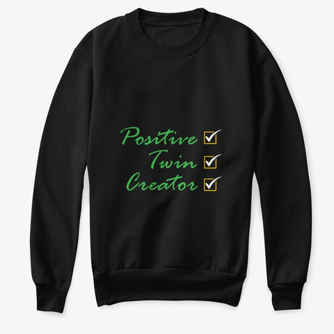 Kids Positive Twins Creator Wear Black T-Shirt Front