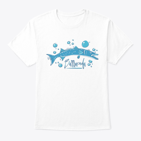 Fish Barracuda Fish White T-Shirt Front