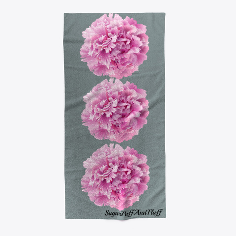 Three Peonies Beach Towel Medium Grey T-Shirt Front