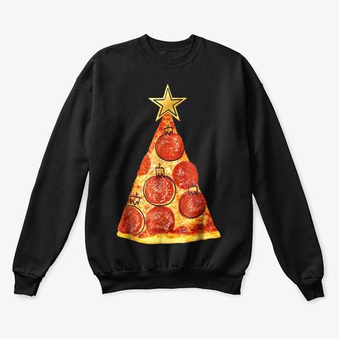 Pizza Slice Christmas Tree T Shirt Black T-Shirt Front