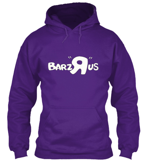 Barz Rus All White Font Hoodies Purple Sweatshirt Front