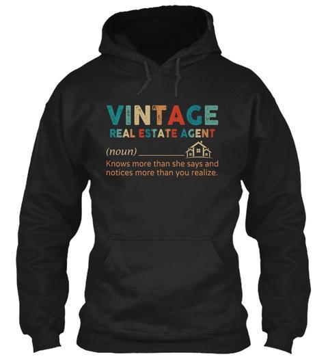 Vintage Real Estate Agent Black T-Shirt Front