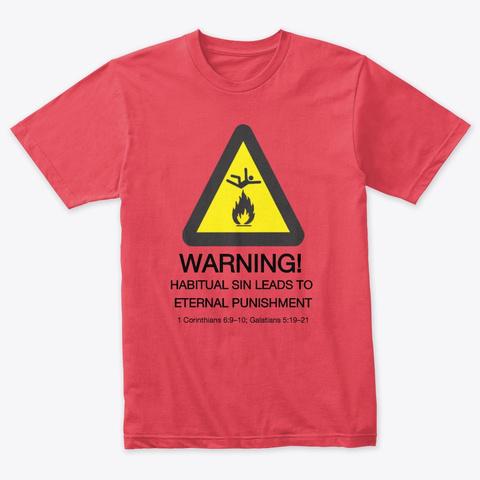 Warning Vintage Red T-Shirt Front
