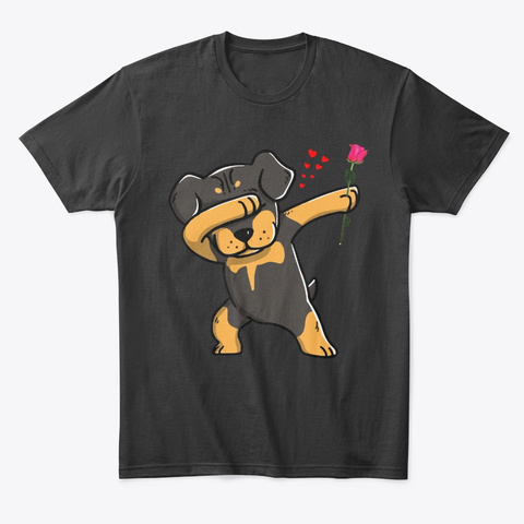 Dabbing Rottweiler Valentines Day Shirt Black T-Shirt Front