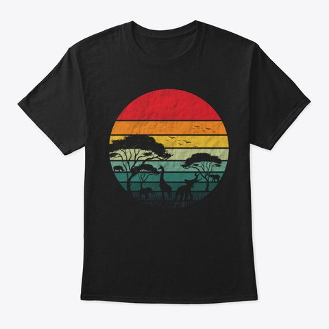 Vintage African Gift, Zookeeper T Shirt Black T-Shirt Front