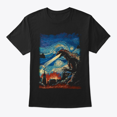 Starry Night Godzilla Black T-Shirt Front