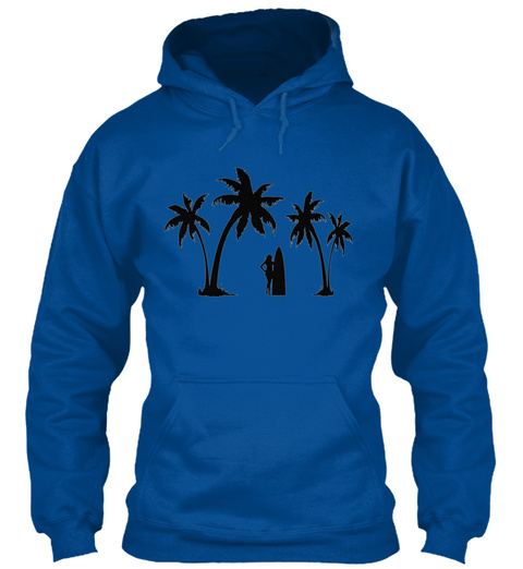 Two Palms And Surfer Girl Royal T-Shirt Front