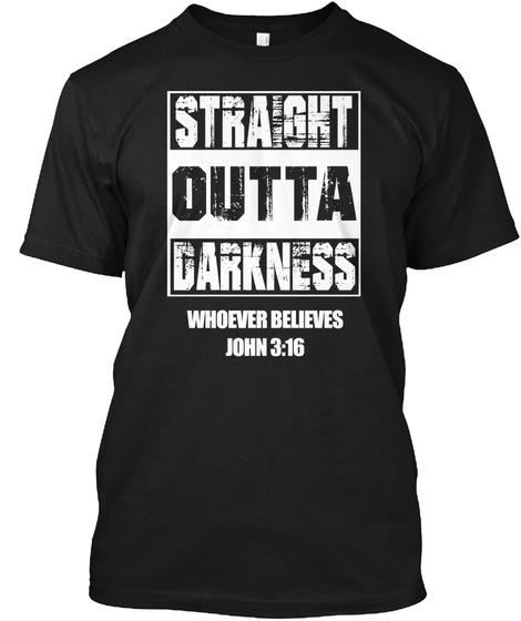 John 3:16 Hoodie Black T-Shirt Front