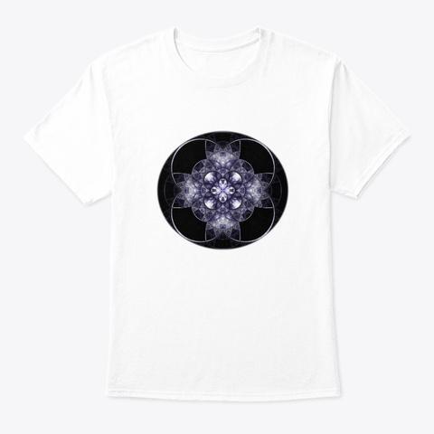 Fractal Mandala Sanskrit Yoga Art White T-Shirt Front