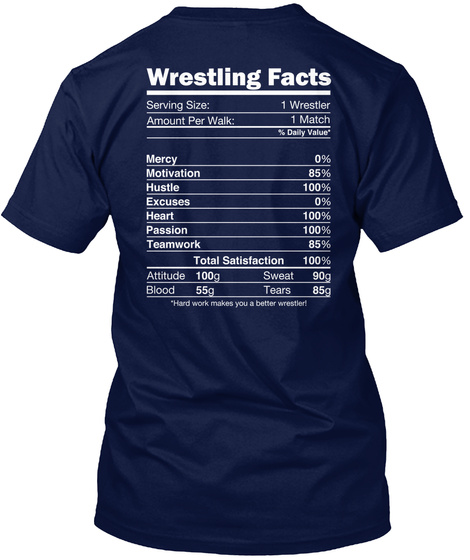 Wrestling Facts  Serving Size :1 Wrestler  Amount Per Walk :1 Match  %Daily Value * Mercy 0% Motivation 85% Hustle... Navy T-Shirt Back