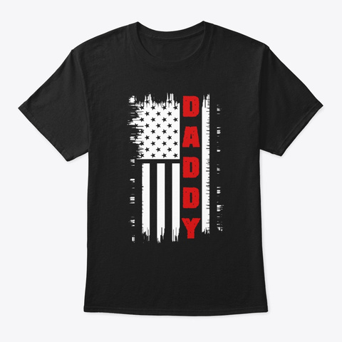 Daddy Design With Stars Black T-Shirt Front