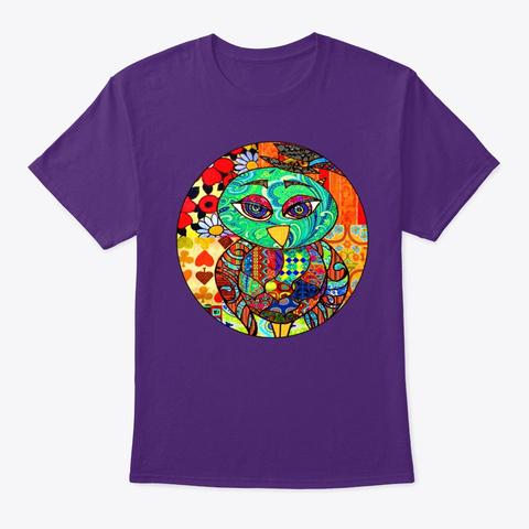 Adorable Patchwork Colorful Owl Purple T-Shirt Front
