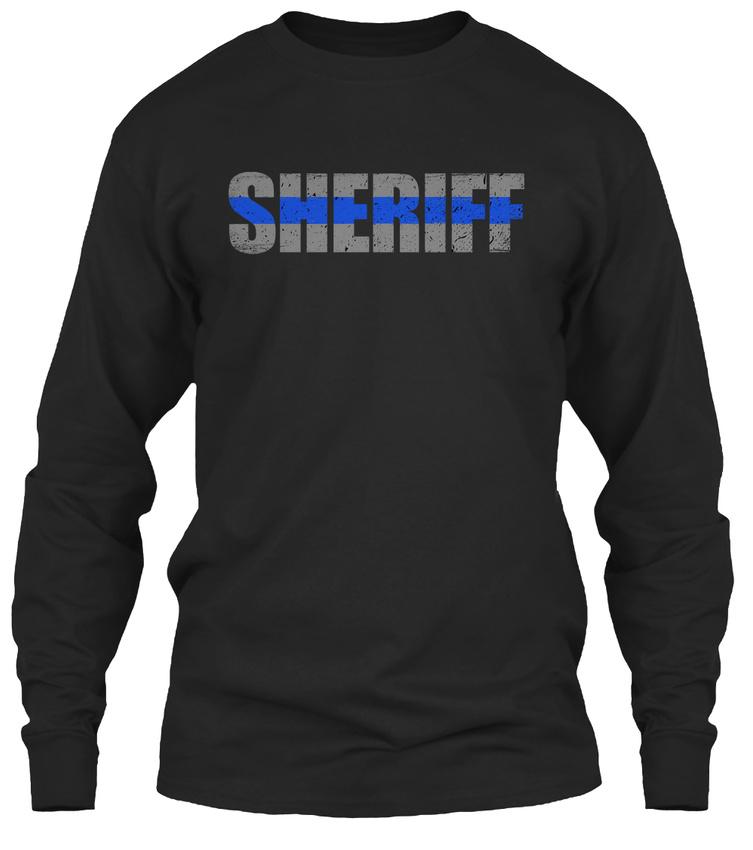 sheriff thin blue line gildan long sleeve tee t shirt ebay. Black Bedroom Furniture Sets. Home Design Ideas