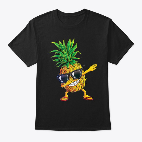 Dabbing Pineapple Sunglasses T Shirt A  Black T-Shirt Front