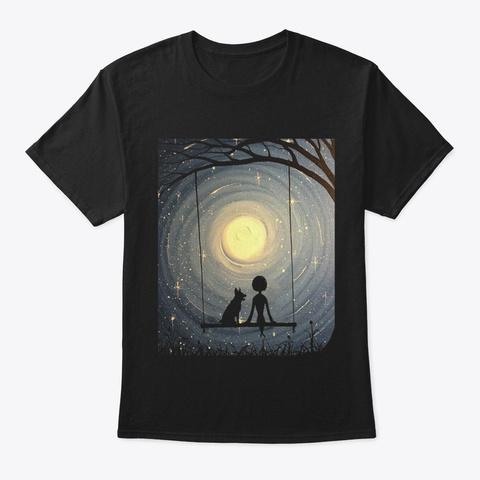 German Shepherd And Girl Black T-Shirt Front