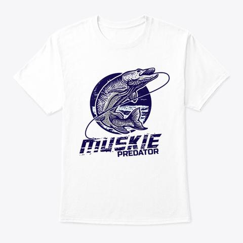 Fish Muskie Predator White T-Shirt Front