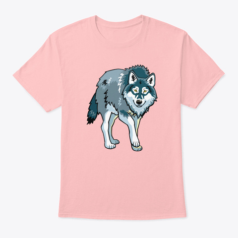 Blue Wolf Wild Animal Pale Pink T-Shirt Front