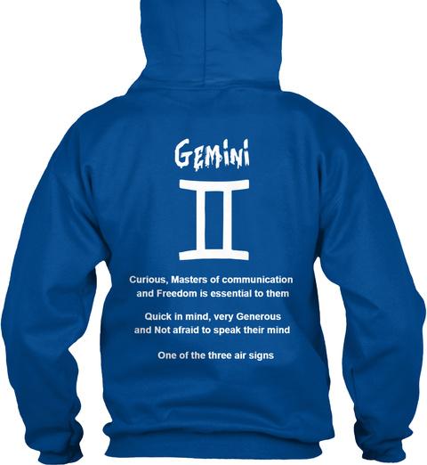 Gemini Hoodie Royal T-Shirt Back