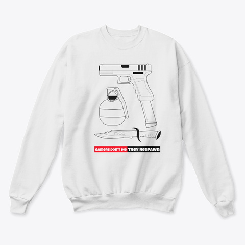 Gamers Don't Die, They Respawn White  T-Shirt Front