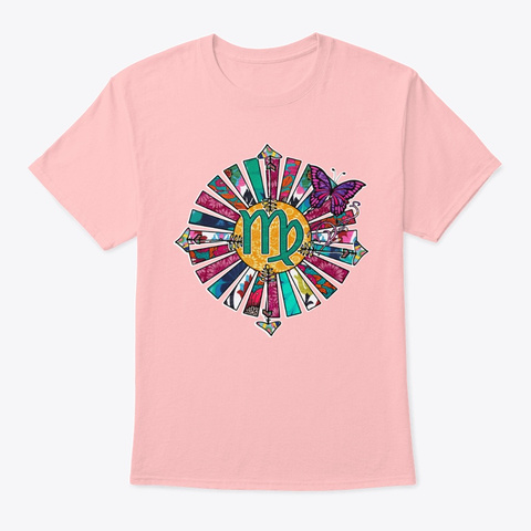 Virgo Springtime Sunrays Pale Pink T-Shirt Front