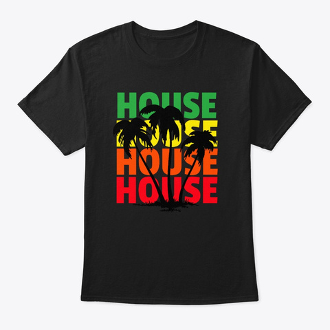 House Music Beach Palm Tree Edm Dj Black T-Shirt Front