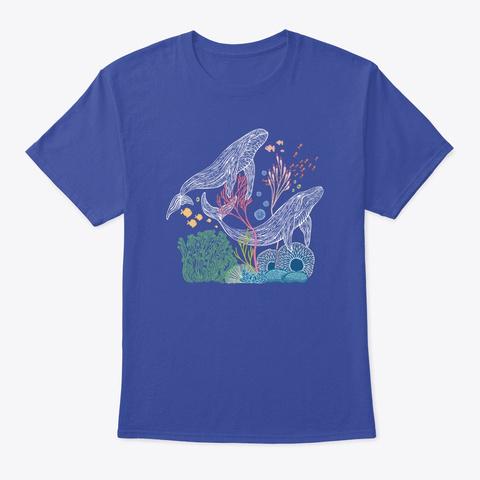 Blue Whale Waves Line Art Deep Royal T-Shirt Front