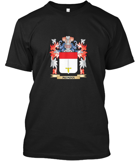 Mcminn Coat Of Arms   Family Crest Black T-Shirt Front