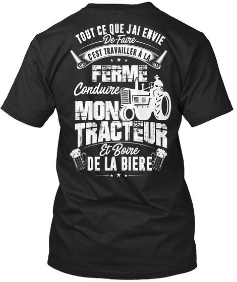 Conduire Mon Tracteur  Black T-Shirt Back