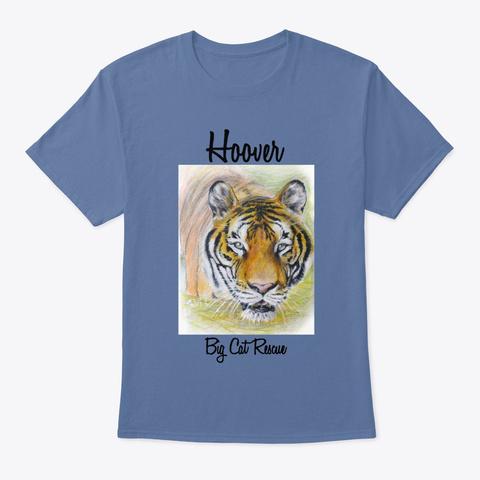 Hoover Tiger Watercolor Denim Blue T-Shirt Front