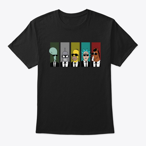 Funny Image Of Cartoon Series Black T-Shirt Front