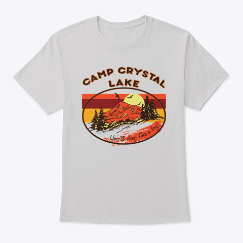 Crystal Lake Camper Camping Camp Retro  Light Steel T-Shirt Front