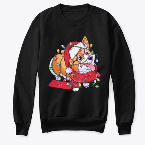 Christmas Corgi Black T-Shirt Front