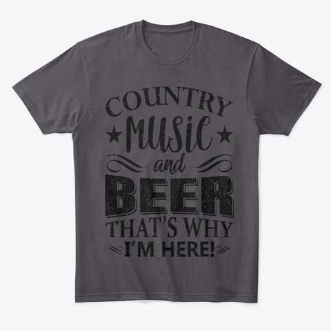 Country Music And Beer Heathered Charcoal  T-Shirt Front