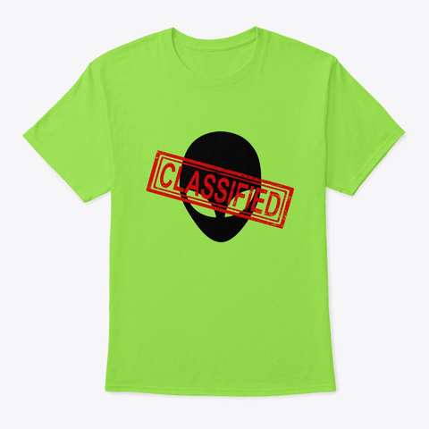 Area 51 Alien Classified Lime T-Shirt Front