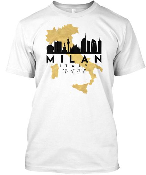 Milan Italy Skyline Map Art T Shirt White T-Shirt Front