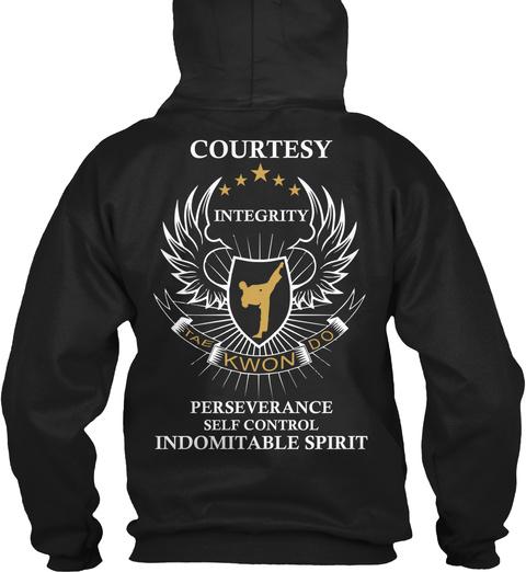 Courtesy Integrity Tae Kwon Do Perseverance Self Control Indomitable Spirit Black T-Shirt Back