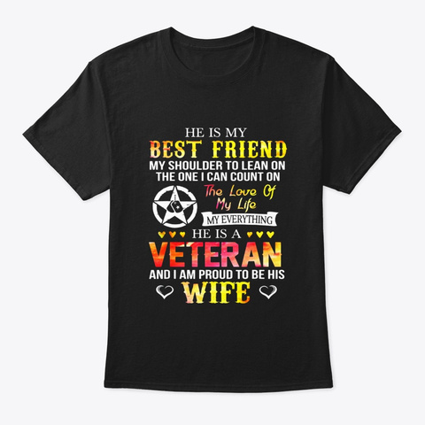 Proud To Be A Veteran Wife Women Funny Black T-Shirt Front
