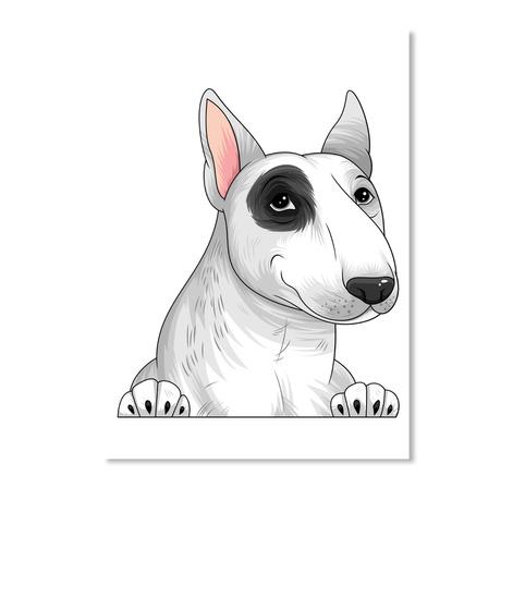 Bull Terrier Decal 11 White T-Shirt Front
