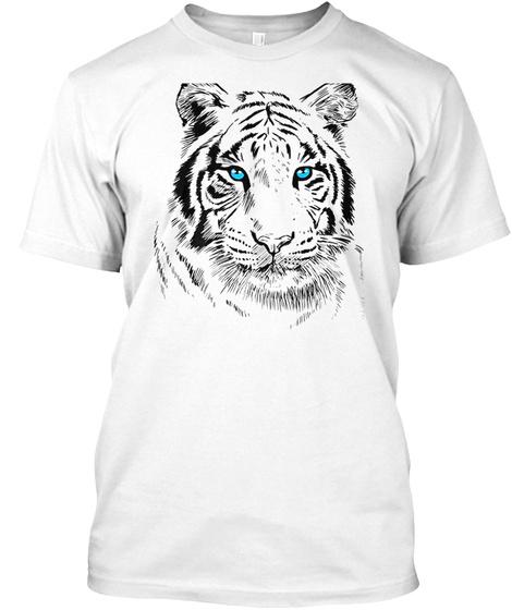 Sketch Tiger T Shirt Blue Eyes Cute Feli White T-Shirt Front
