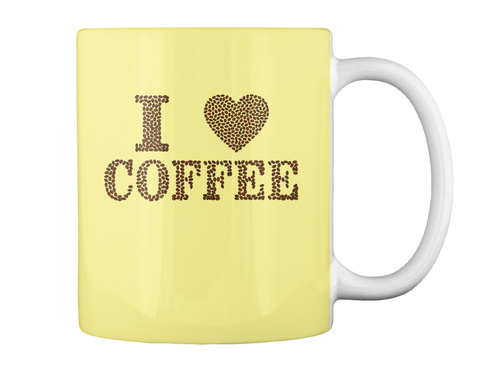 I Love Coffee Coffee Bean Mug Butter Yellow Mug Back