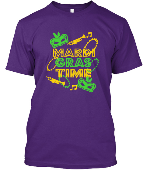 Mardi Gras Time Purple T-Shirt Front
