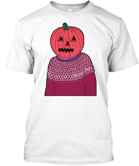 Pumpkin Guy Funny Halloween T Shirt White T-Shirt Front